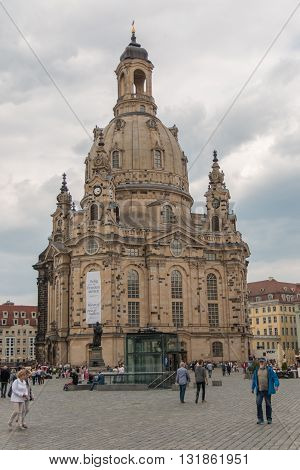 DRESDEN, GERMANY - 10.06.2016: Famous Frauenkirche catholic cathedral in Dresden Germany