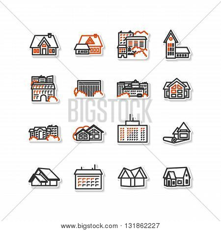 Buildings - set of icons. A vector.