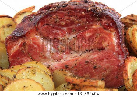 Smoked And Grilled Meat With Potatoes Slice