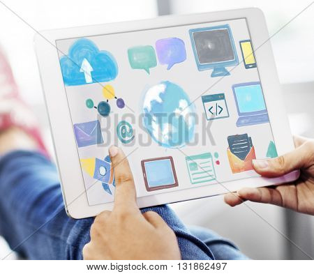 Global Communication Social Media Networking Concept