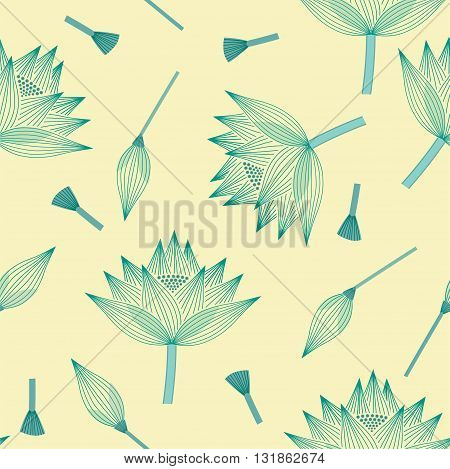Seamless continuous background lotus flower linear decorative design