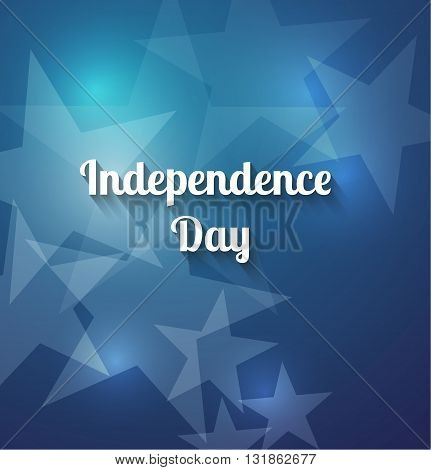 Independence Day celebration concept with brilliant stars on a blue background. Vector festive background for 4th of July. The symbol of freedom and independence.