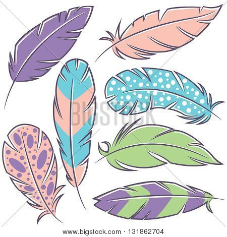 Colorful vector doodle set with decorative bird feathers