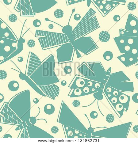 Vector flying butterflies seamless pattern in vintage style textile