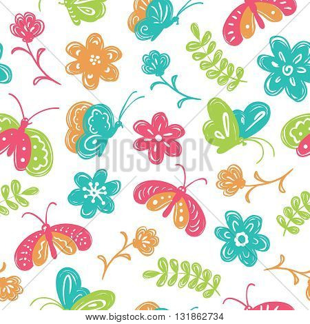 Vector seamless pattern with cute buterfly and flowers in a children's doodle style
