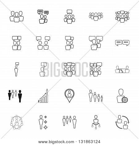 Human resources and management simple icons set on background