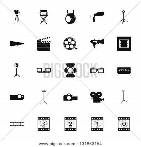 Movie cinema icon symbol set on  background.