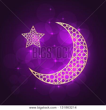 Ramadan greeting card on violet background. Vector illustration. Ramadan Kareem means Ramadan is generous.