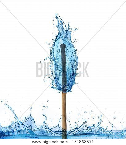 Matchstick burning in a water flame isolated on white. Surreal conceptual background