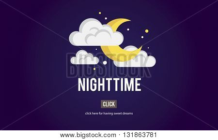 Nighttime Bright Dark Evening Midnight Moon Concept