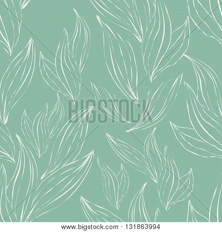 seamless pattern of white outline leaves on an green background
