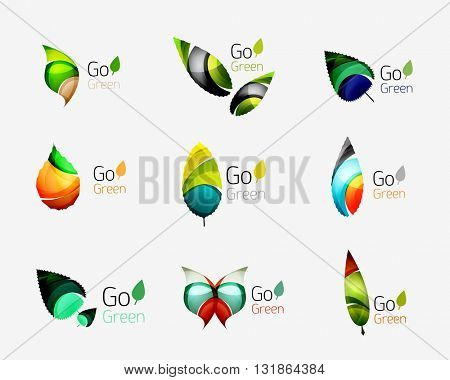 Glossy colorful leaf icon set. Vector illustration