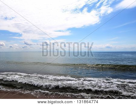 Coastline with the ripple sea and cloudy sky