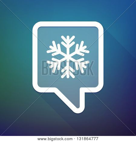 Long Shadow Tooltip Icon On A Gradient Background  With A Snow Flake