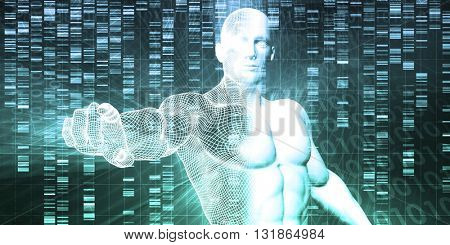Medical Technology with Scientist Engineer on DNA Background 3D Illustration Render