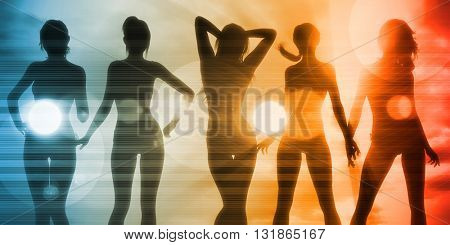 Beach Babes Sunset Silhouette Enjoying the Sun 3D Illustration Render