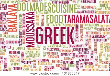 Greek Food and Cuisine Menu Background with Local Dishes