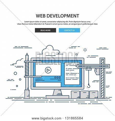 Thin line flat design of website under construction. web page building process.