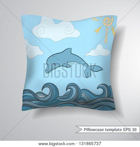 Creative sofa square pillow. Decorative pillowcase design template. Pattern with dolphins in blue sea wave. Cartoons seascape sun cloudsVector illustration.