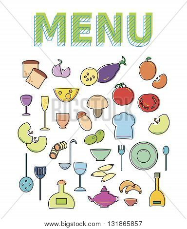 Restaurant cafe menu template design. Vector illustration for food flyer. Bright colorful icon set isolated on white background. Breakfast idea brochure poster. Cover doodle card for pizza ingredients