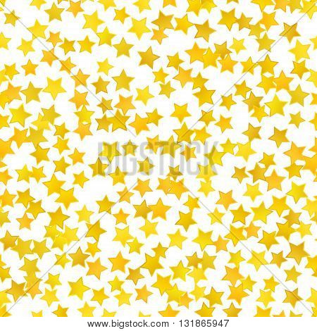 Abstract yellow star background. Vector illustration for gold design. Golden color. Shiny decoration. Symbol celebration. Holiday award shape. Bright banner and frame. Confetti wallpaper element.
