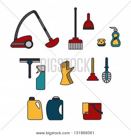 Vector Icon Set in a Line Style/ Cleaning Icons Set/ Equipment for Cleaning