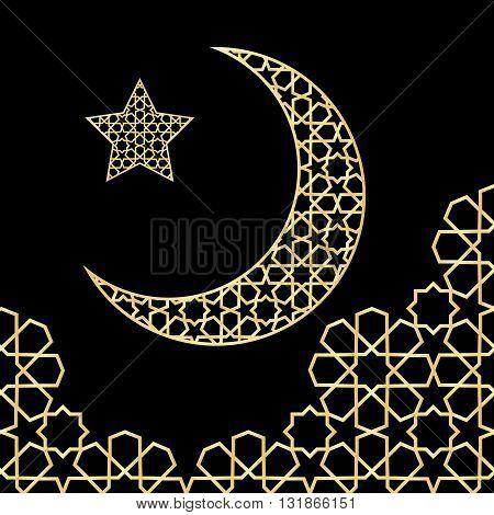 Ramadan greeting card on black background. Vector illustration. Ramadan Kareem means Ramadan is generous.