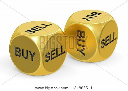 buy or sell dices 3D rendering isolated on white background