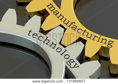 Manufacturing Technology concept on the gearwheels 3D rendering