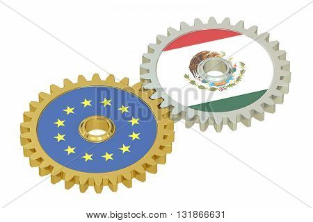 Mexico and EU flags on a gears 3D rendering isolated on white background