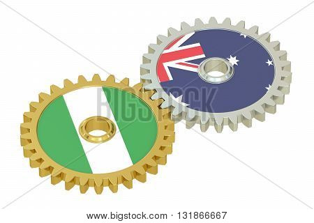 Nigeria and Australia flags on a gears 3D rendering isolated on white background
