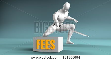 Cutting Fees and Cut or Reduce Concept 3d Illustration Render