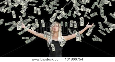 Woman Catching Money Falling From the Sky in US Dollars 3d Illustration Render