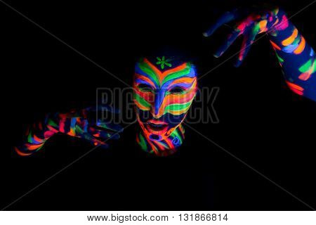 Woman With Make Up Art Of Glowing Uv Fluorescent Powder