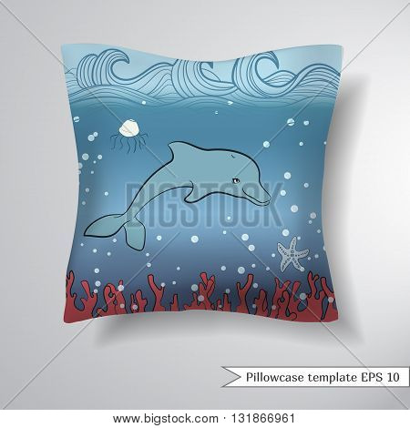 Creative sofa square pillow. Decorative pillowcase design template. Pattern with cute owls and leaves. Vector illustration.