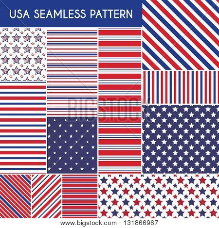 Patriotic red, white, blue geometric seamless patterns. Vector illustration set with American symbols. USA flag wallpapers. Diagonal stripe, star shape. Happy Independence Day 4th of July.