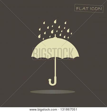 Flat icon light umbrella on dark background, vector illustration