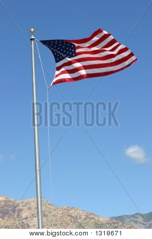 Usa Flag At Red Rock