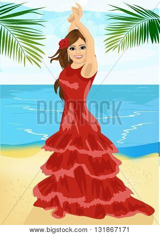 Young woman dancing flamenco on the beach