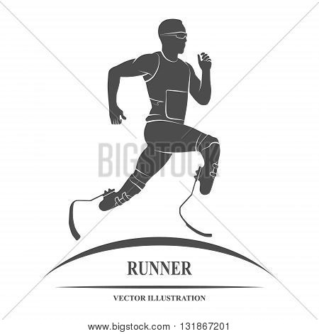 Icon disabled athlete running. Paralympic Games. Vector illustration.