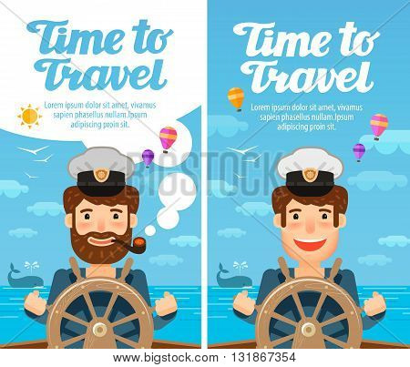 Travel to world. Cruise, vacation. Sailor at the helm of the ship