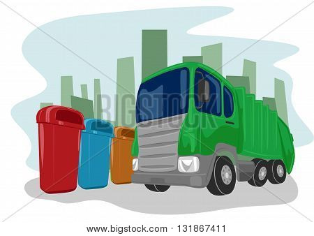 Illustration of recycling green truck picking up bins