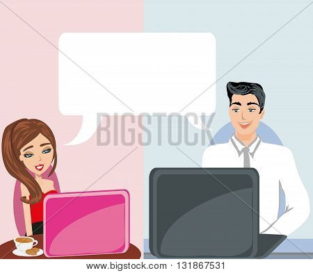 couple flirting and Love in web , vector illustration
