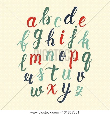 Hand drawn latin calligraphy brush script of lowercase letters in vintage colors. Calligraphic alphabet. Vector illustration