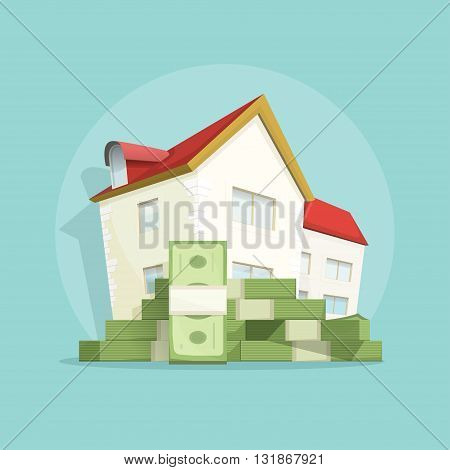 House with pile of money, home real estate symbol, concept of housing bill growth banner, investment, mortgage, house loan, account, banking, outlay expenses modern vector poster design isolated