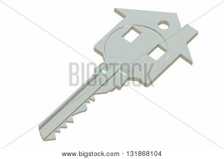 Silver home key with house silhouette 3D rendering isolated on white background