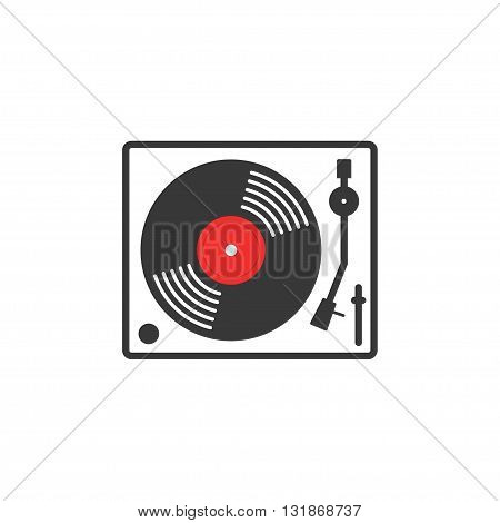 Retro vinyl music player vector icon vinyl record player flat outline linear style record turntable logo thin line modern emblem design illustration isolated on white background
