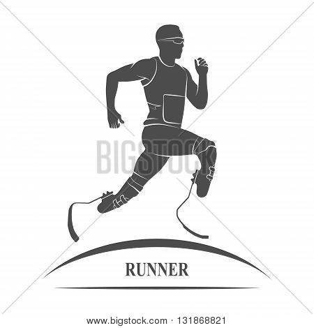 Gray Icon disabled athlete running. Paralympic Games. Photo illustration.
