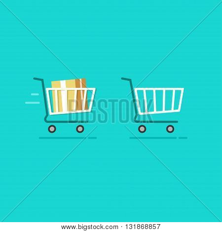 Shopping cart full and shopping cart empty vector icons fast moving full trolley basket sign flat cartoon illustration design isolated on blue background