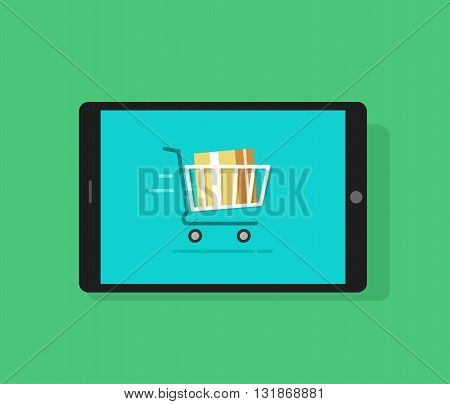 Tablet computer and full shopping cart moving cardboard box inside concept of mobile online order ecommerce sale product purchase delivery transportation flat cartoon design vector illustration